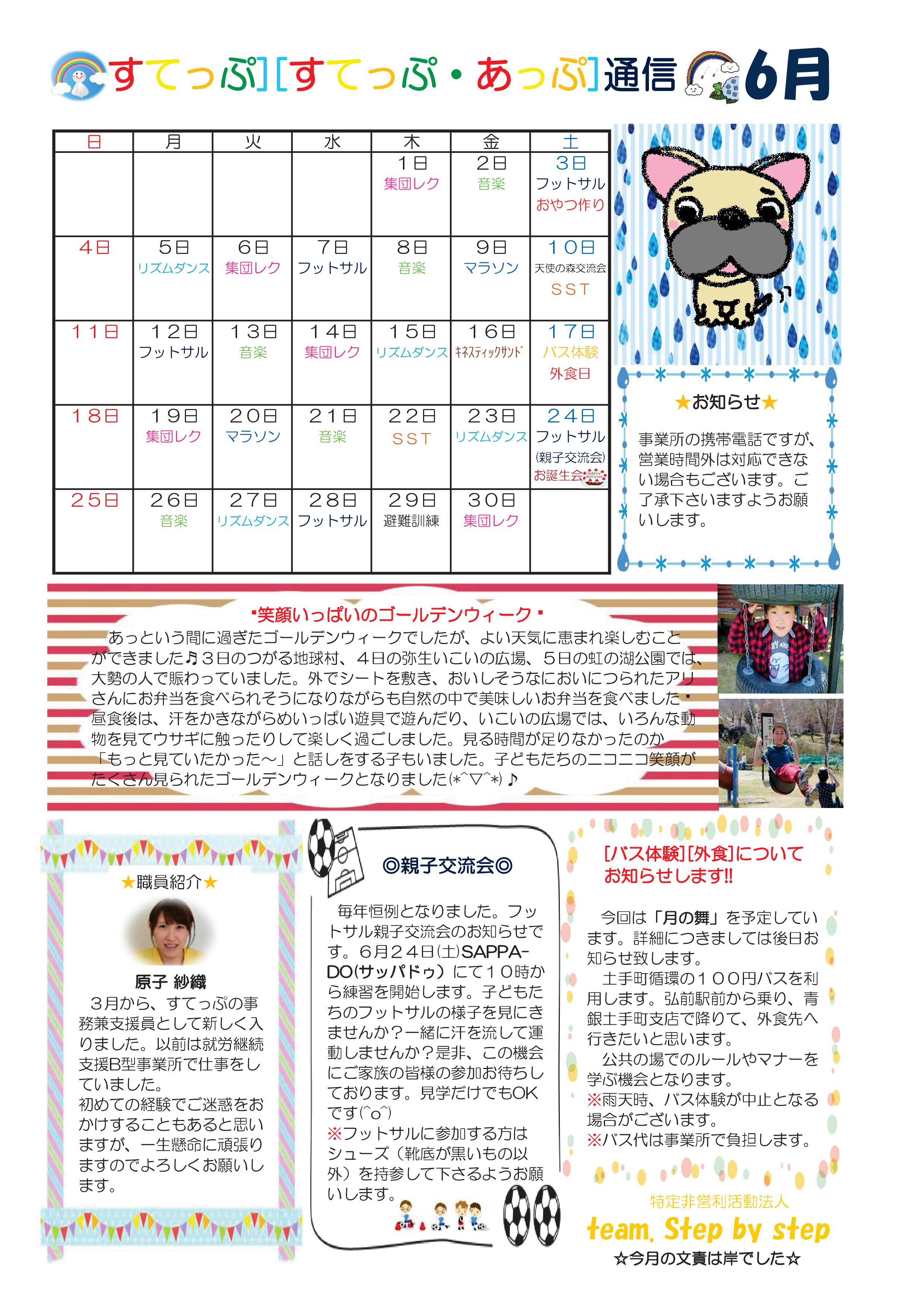 児童デイサービスすてっぷ 日中一時支援 すてっぷ通信2017年6月号